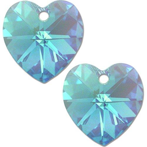 2 Aqua AB Swarovski Crystal Heart Pendant 6202 10mm -