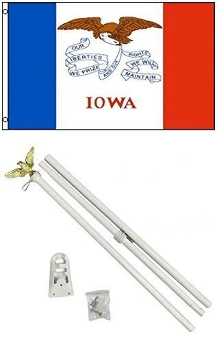 Moon Knives 3x5 State of Iowa Flag White Pole Kit Set - Party Decorations Supplies For Parades - Prime Outside, Garden, Men Cave Decor Flag