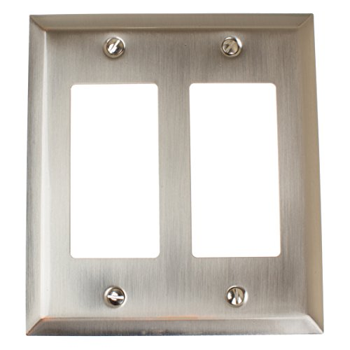 Brushed Nickel Double Rocker - GlideRite Hardware Wall Plate Cover for Double Decora Rocker Switches – Steel 2-Gang Square Beveled GFCI Receptacle for Kitchen, Bath or Living Room (Double Rocker, Brushed Nickel)