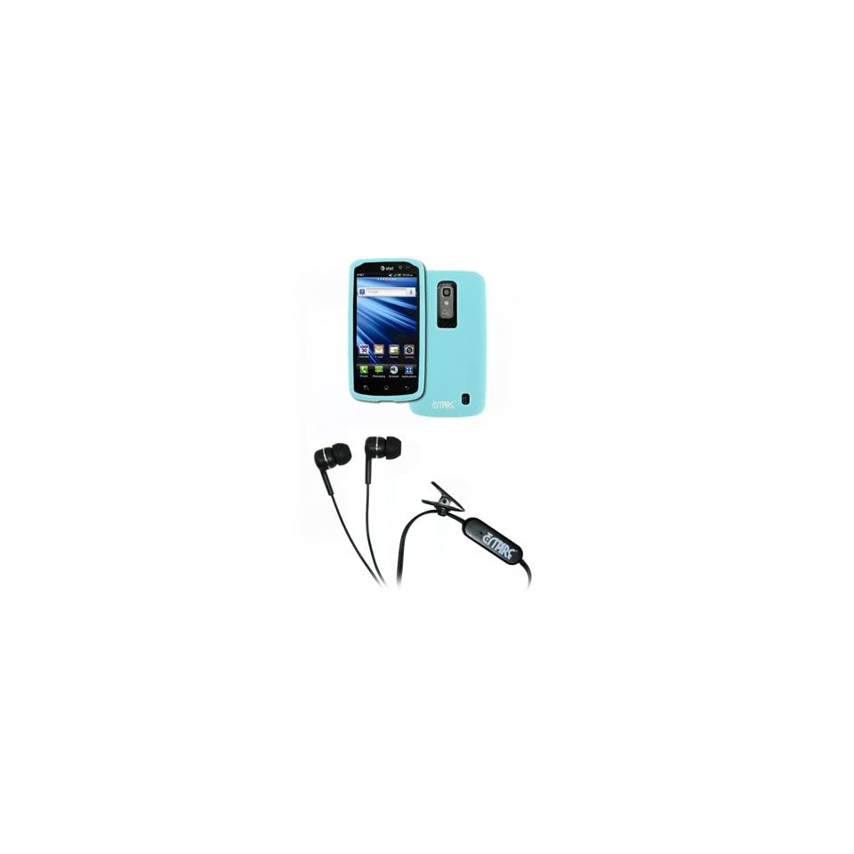 EMPIRE LG Nitro HD Light Blue Silicone Skin Case Cover + Stereo Hands Free 3.5mm Headset Headphones [EMPIRE Packaging]