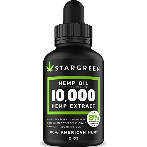 Hemp Oil for Stress Relief - 10000 MG - Vitamin D, E & Omega 3, 6, 9 - All Natural Pain, Anxiety & Stress Relief - Made in USA - Anti-Inflammatory, Hip & Joint Support - Provides Natural Calm Sleep
