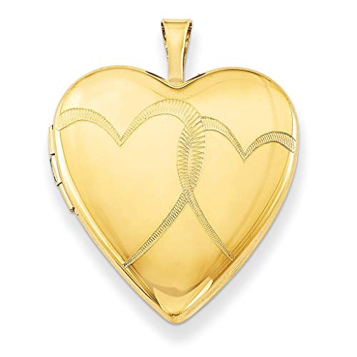 Pori Jewelers 14K Solid Yellow Gold Heart Locket Pendants (Double Heart (25MM)) ()