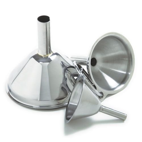 18/10 Stainless Steel 3Pc Funnel Set Canning Preserving & Small Bottles