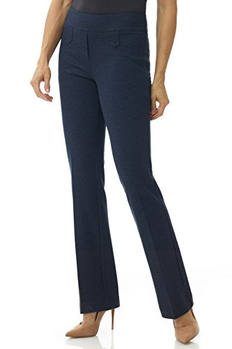 Rekucci Women's Secret Figure Pull-On Knit Bootcut Pant w/Tummy Control (16SHORT,Indigo) ()