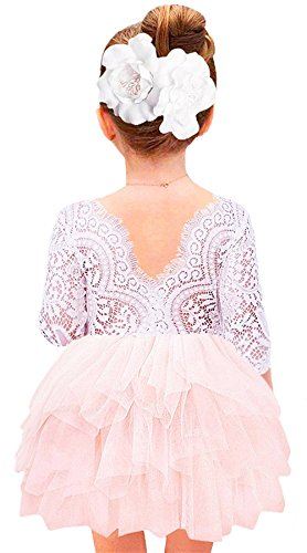 2Bunnies Girl Baby Girl Beaded Backless Lace Back Tutu Tulle Flower Girl Party Dress (Pink 3/4 Sleeve Short, 4T) (Sleeve Birthday 3/4)