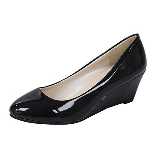 Mujeres Trabajo Crema R longitud Calzados De De Del Zapatos Dedo SODIAL Negro EUR35 22 Rondondo 4 Charol De Pie Color Para 5cm Cunas De Nuevos De US 5 wHaqWnSY