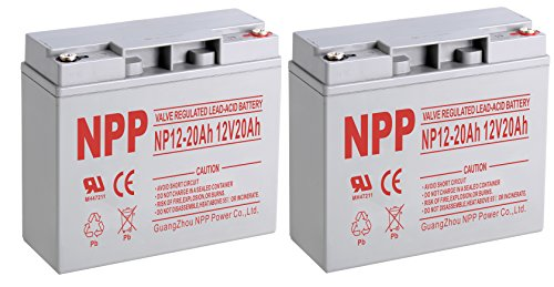 NPPower NP12-20Ah Sealed Lead Acid 12V 20Ah Battery Button Style Terminals / (2pcs)