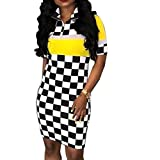 FimKaul Women Hot Sales Sexy Women Nightclub Plaid Dress, Fashion Club Lattice Printing Dress (Yellow, L)