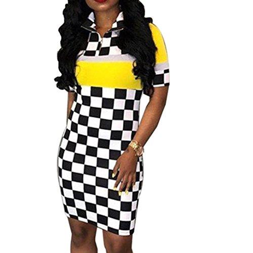 FimKaul Women Hot Sales Sexy Women Nightclub Plaid Dress, Fashion Club Lattice Printing Dress (Yellow, L) by FimKaul