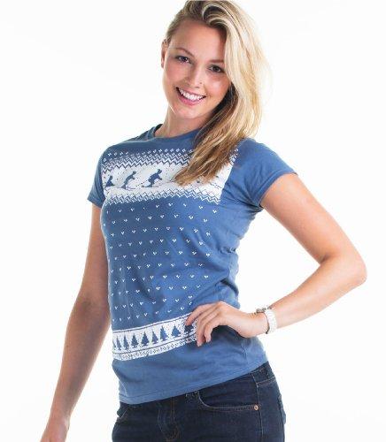 Damen Ski Weihnachts-T-Shirt - Jeansblau