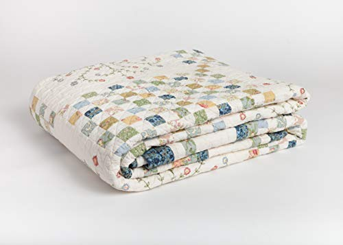 ALOOR HOME - Flora Patchwork with Blue Scalloped Edge, 100% Cotton Quilt, King Size - 104 inch x 90 inch
