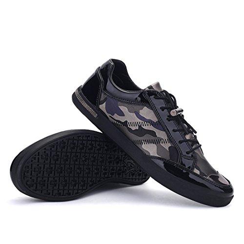 Xiafen Herenmode Casual Flats Coole Camouflage Sneakers Schoenen Grijs