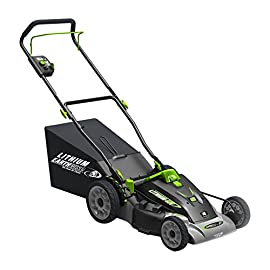 Earthwise 18-Inch 40-Volt Lithium Ion Cordless Electric Lawn Mower 35 Dual 40V Li-Ion Batteries (4aH and 2aH) and LED battery monitor 3-in-1 easy on-off side discharge/mulch/rear bag Zone starting / safety bar