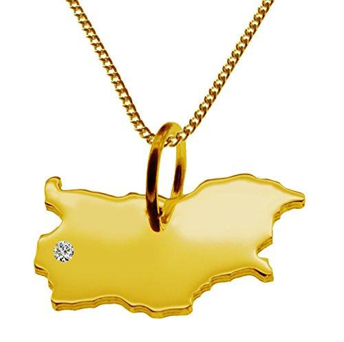 Endroit Exclusif la Bulgarie Carte Pendentif avec brillant à votre Désir (Position au choix.)-avec Chaîne-massif Or jaune de 585or, artisanat Allemande-585de bijoux