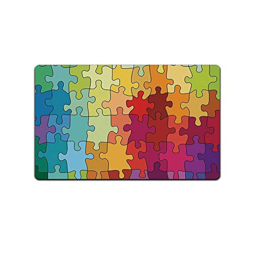 "C COABALLA Abstract Durable Print Floor Mat,Colorful Puzzle Pieces Fractal Children Hobby Activity Leisure Toys Cartoon Image for Living Room,31"" Lx19''W from C COABALLA"