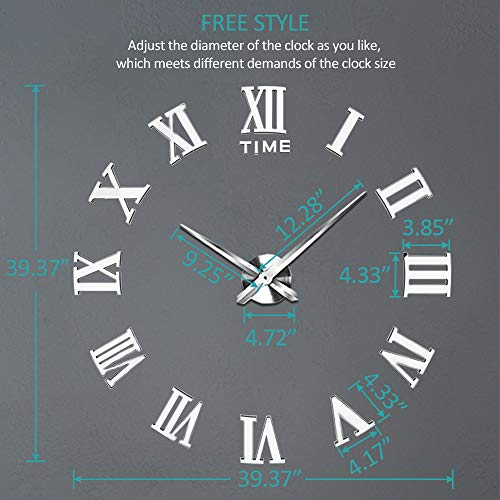 Vangold Large 3D DIY Wall Clock, 2-Year Warranty Roman Numerals Clock Frameless Mirror Surface Wall Clock Home Decor for Living Room Bedroom by Vangold (Image #4)