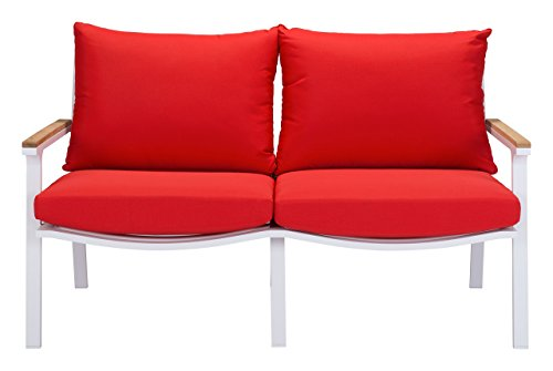 Zuo Modern Maya Beach Sofa, Red/Natural/White