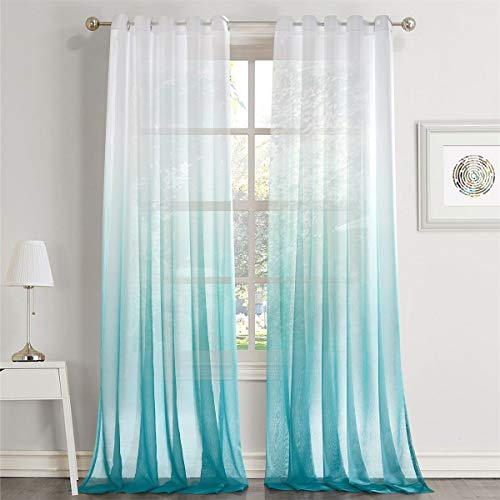 LoyoLady Gradient Ombre Printing Lake Blue Grommet Top Voile Sheer Curtains Decorative Window Screening, 52