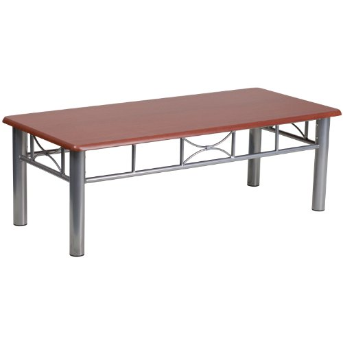 Laminate Coffee Table - Flash Furniture Mahogany Laminate Coffee Table with Silver Steel Frame
