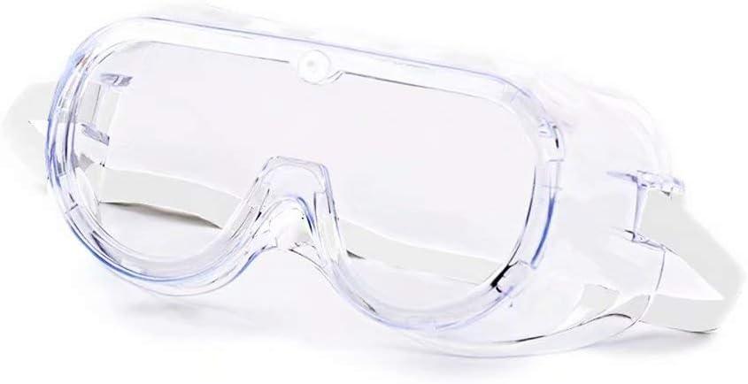 DUEBEL Gafas Protectoras contra Virus con Marco Flexible de PVC Blando, Lente Transparente Antivaho de Policarbonato, Ventilación Indirecta, Correa Ajustable Blanca. Ajustar sobre Gafas Graduadas