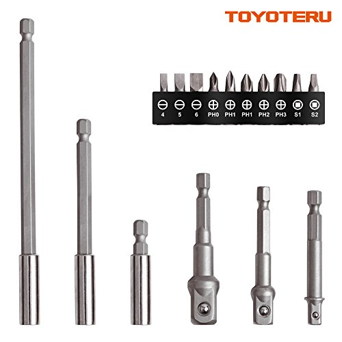 TOYOTERU Socket Adapter & Bit with Bit Extension Holder (16pcs),Hex Quick Change Chuck Socket Adapter, Impact Hex Shank Drill Bits Bar (Chuck Quick Adapter Change)