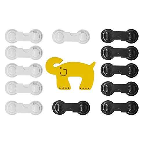 Johokis Baby and Pets Safety Locks,Child Proofing Cabinet,Drawers, Toilet Seat,Fridge and Oven locks,12 Pack Black and White plus 1 Door Stopper with 3M Strong Adhesive Tape, Quick easy to Install by johokis
