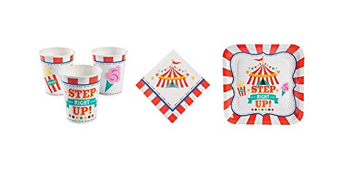 Carnival Party Kit - Birthday Party Supplies Set Carnival Theme Dinner Plates and Napkins and Cups  ()