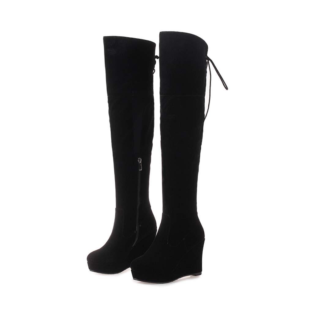 Black T-JULY Winter Women Over The Knee Boots Platform Round Toe Zipper Wedges Cross Tied Footwear shoes