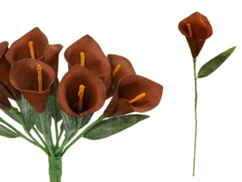 Tableclothsfactory 60 pcs Single Stem Artificial Mini Calla Lillies - Chocolate Brown ()