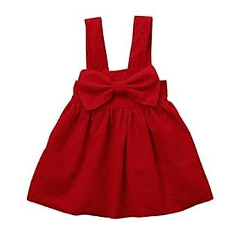 Vestido Bebe Niña Verano, K-youth® Ropa Bebe Niña Verano Vestido Niña Ceremonia Princesa Vestido Bebe Bautizo Fiesta Playa Chicas Bowknot Falda de honda Vestido de niña (Rojo, 2-3 años)