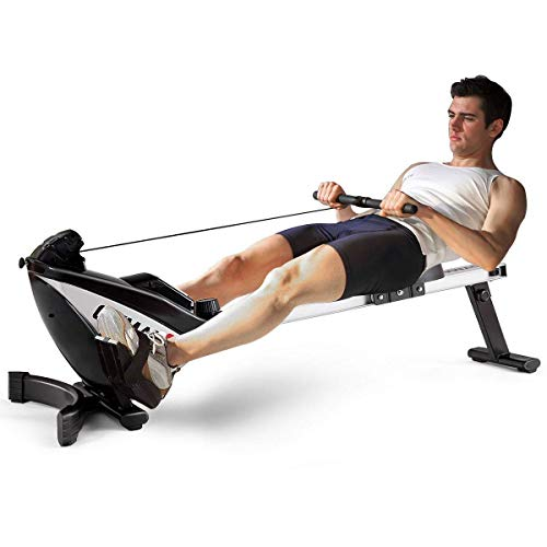GOPLUS Magnetic Rowing Machine, Folding Rower with LCD Display and Adjustable Resistance Exercise Cardio Fitness Equipment