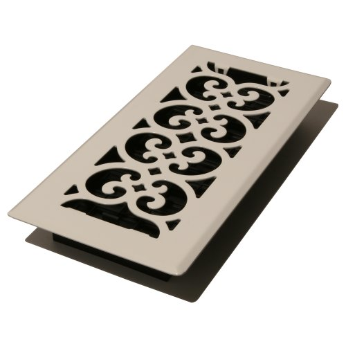 Decor Grates FS410-WH Scroll Metal Floor Register White 4-Inch by 10-Inch