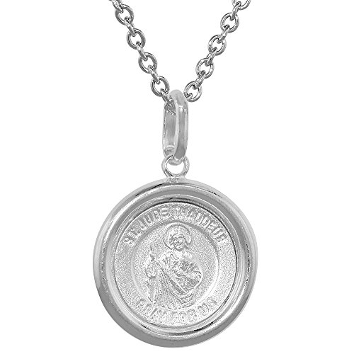 Sterling Silver St Jude Medal Necklace 5 8 Inch Round Italy