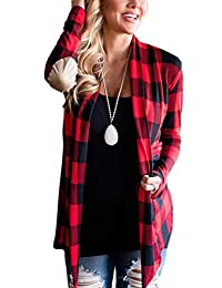 Women Plaid Shawl Collar Long Sleeve Patchwork Open Front Top Blouse Cardigan