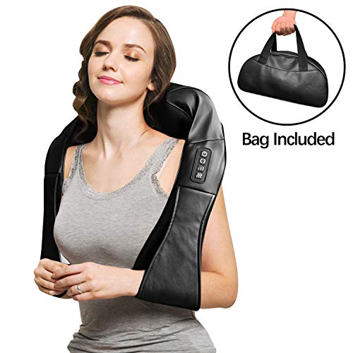 Neck and Shoulder Massager, Shiatsu Neck & Back Massager with Heat, 3D Deep Tissue Kneading Electric Massage Machine for Feet, Legs, Body Muscle Pain Relief, Home, Office & Car Use