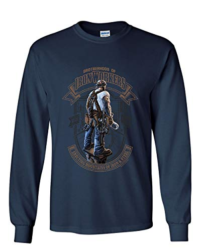 Brotherhood of Ironworkers Long Sleeve T-Shirt Blue Collar Job Construction Tee Navy Blue L