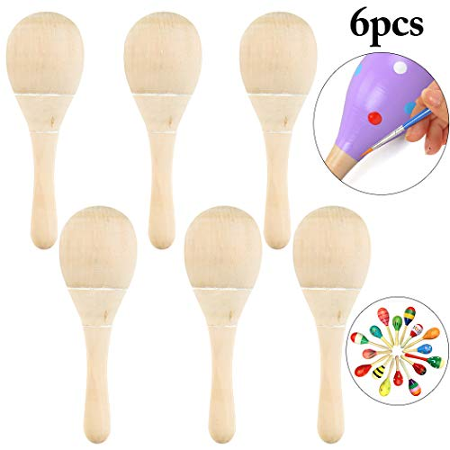 Fansport 6PCS Kid's Maraca Early Educational Wood Painting DIY Party Maraca Musical Toy -