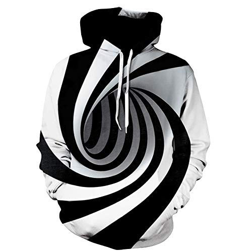 Men Hooded Sweatshirts Realistic 3D Print Digital Vortex Pullover Hoodie Funny Pattern with Pockets (M, Black)