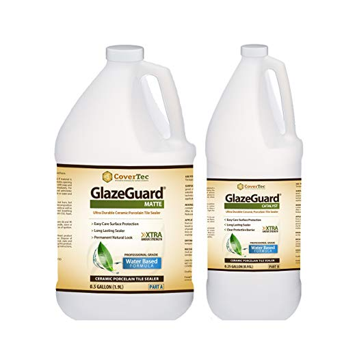 GlazeGuard Matte Floor Sealer Wall Sealer for Ceramic, Porcelain, Stone Tile Surfaces (0.75 Gal - Prof Grade (2) Part Kit) ()