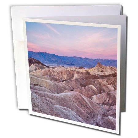 - 3dRose Danita Delimont - Deserts - USA, California, Death Valley. Sunrise over Zabriskie Point. - 12 Greeting Cards with envelopes (gc_278595_2)