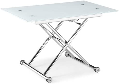Table Basse Relevable Isa Verre Blanc Chrome Amazon Fr