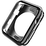 Apple watch 保護ケース カバー メッキ加工 装着簡単 柔軟で変形ににくい 耐衝撃 アップル ウォッチシリーズ3/シリーズ 2 38mm/42mm 用 (38mm, ブラック)