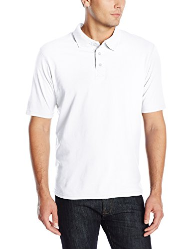 Hanes Men's X-Temp Performance Polo, White, Large