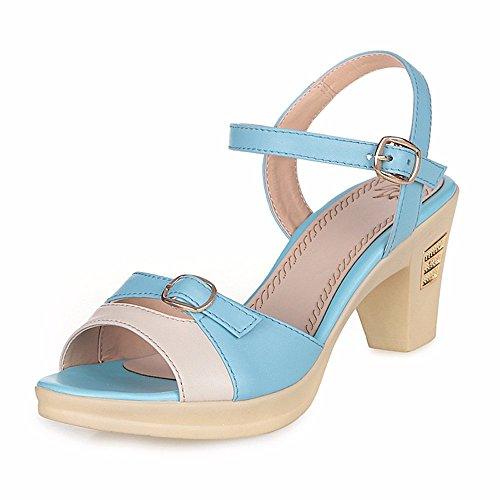 Shoes Señoras Sandalias de Verano con Zapatos de Cuero Genuino y Delgado. Azul cielo