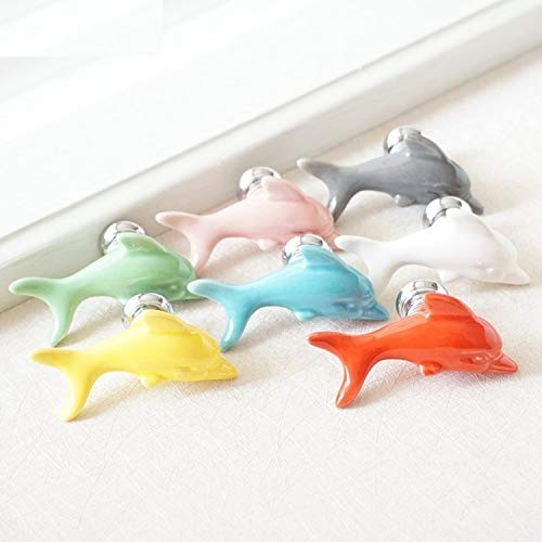 (Set of 1) - Ceramic Cabinet Knobs Dolphin Colorful Dresser Knobs Drawer Cabinet Handles Children Cupboard Knobs Decorative Handle (Blue)