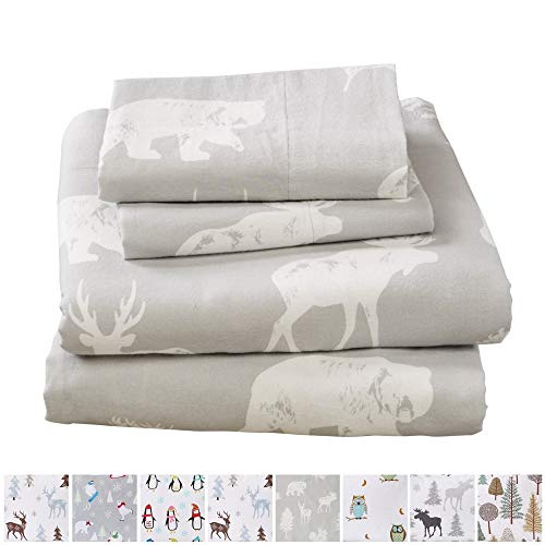 Home Fashion Designs Stratton Collection Extra Soft Printed 100% Turkish Cotton Flannel Sheet Set. Warm, Cozy, Lightweight, Luxury Winter Bed Sheets Brand. (California King, Forest Animals) by Home Fashion Designs