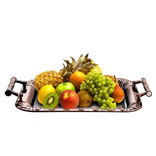 CHANMOL Food Serving Trays Stainless Steel Red Copper Coating, Elegant Floral Plate with Handles, Serving Any Food, Coffee,Tea, Party Platter for Kitchen, Dining,Garden, NON-STICK, NON-SCRATCH, 1 Pcs (Floral Plate Serving)