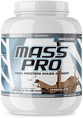 G6 Sports Nutrition Mass Pro High Protein Mass Gainer 64g Protein, Avocado Powder, Coconut Oil Powder, MCT Oil Powder 6.76lb Jar Chocolate