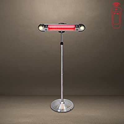 Lava Heat Italia Wall E Stainless Steel Commercial Electric Patio Heater   Wall Mount with Remote Controller and Stand   Generates 1,500 Watts of Safe, Comfortable Heat