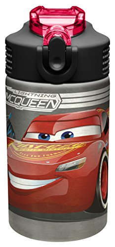 (Zak Designs Disney Cars 3 - Stainless Steel Water Bottle with One Hand Operation Action Lid and Built-in Carrying Loop, Kids Water Bottle with Straw Spout is Perfect for Kids (15.5 oz, 18/8, BPA-Free))